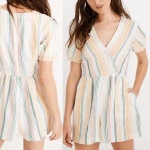 Madewell Linen Button Wrap Romper Striped